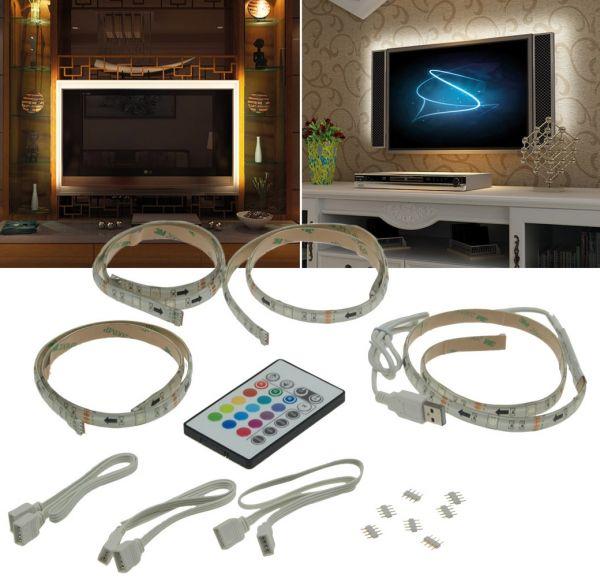 RGB Stripe TV-Hintergrundbeleuchtungsset USB, 4x 50cm, Verbinder & Fernbedien