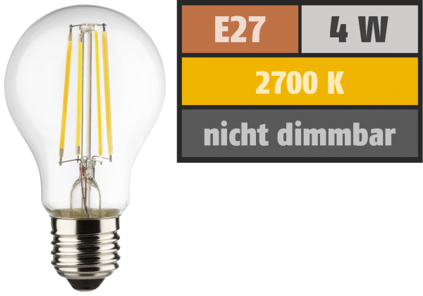 LED Filament Glühlampe, E27, 4W, 470lm, 2700K, warmweiß