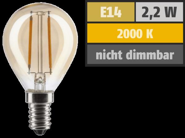 LED Filament Tropfenlampe, E14, 2,2W, 150lm, 2000K, warmweiß, gold