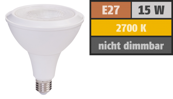 LED-Strahler PAR38, E27, 15W, 1.000 lm, IP54, warmweiß