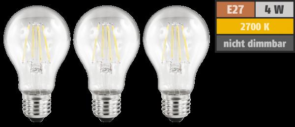 LED Filament Set McShine, 3x Glühlampe, E27, 4W, 470lm, warmweiß, klar