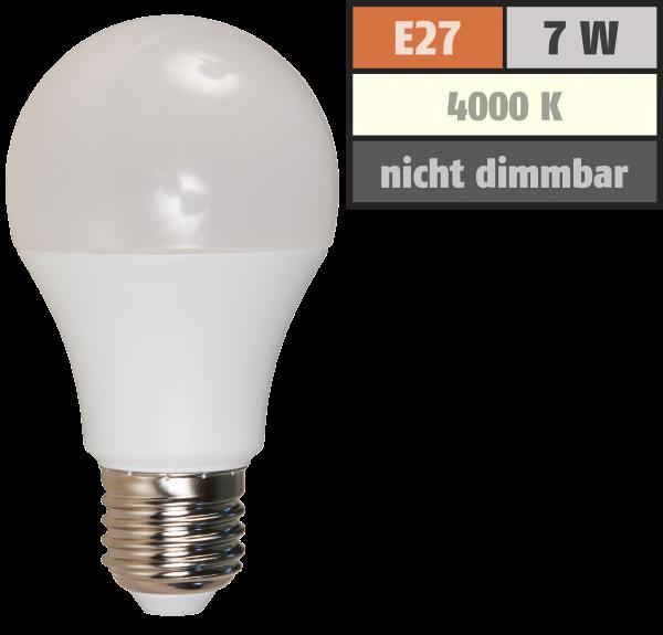 LED Glühlampe McShine, E27, 7W, 650lm, 240°, 4000K, neutralweiß, Ø60x109mm