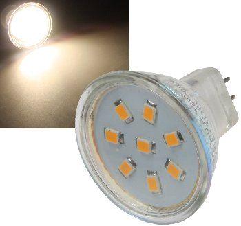 LED Strahler MR11, 8x 2835 SMD LEDs 12V, 2W, 140 Lumen, 3000k / warmweiß