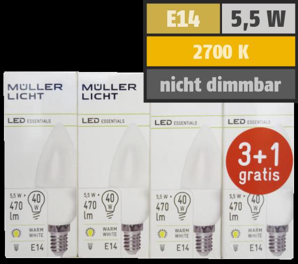 LED Kerzenlampe, E14, 5,5W, 470lm, 2700K, warmweiß, 3+1 Set