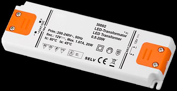 LED-Trafo 20W, elektronisch, 12V DC, slim
