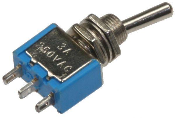 Miniatur Kippschalter 1x EIN/AUS/EIN(UM) 12V/3A, Lötösen, 3-Pin, Gewinde Ø 6mm