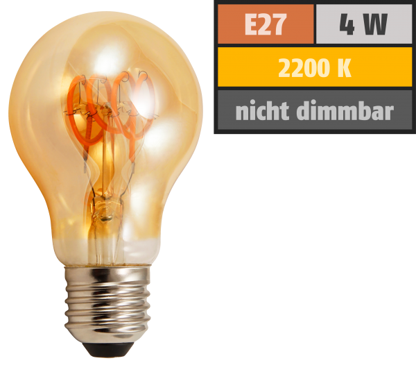 LED Filament Glühlampe McShine Retro E27, 4W, 280lm, warmweiß, goldenes Glas