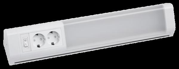 LED Unterbauleuchte, 10W, 900lm, 50cm, neutralweiß, 2 Steckdosen, inkl. 5 Haken