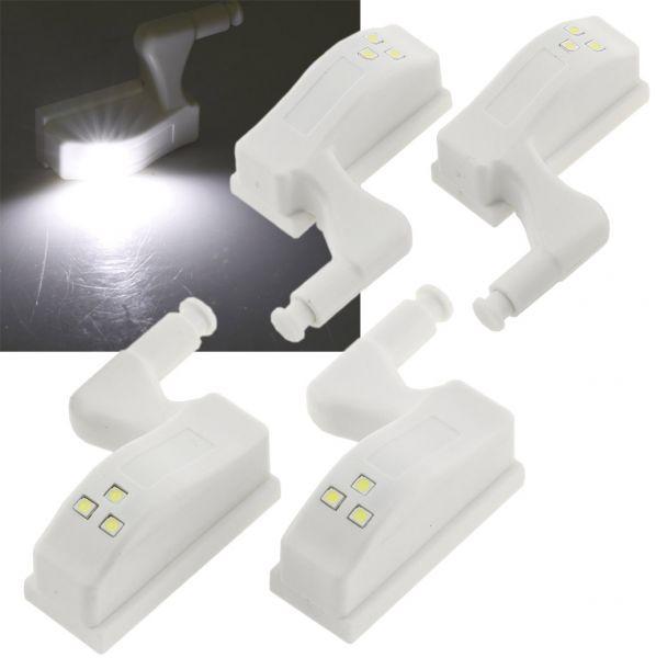 LED Schrankleuchte, 4er-Set Batteriebetrieb, Drucksensor für Türen