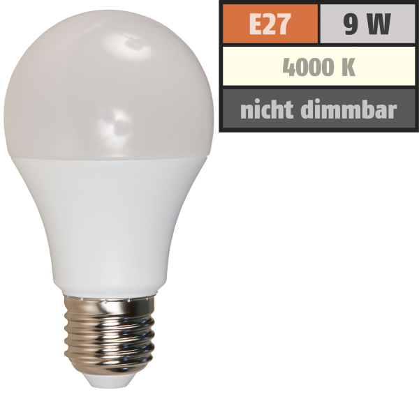 LED Glühlampe McShine, E27, 9W, 850lm, 240°, 4000K, neutralweiß, Ø60x109mm