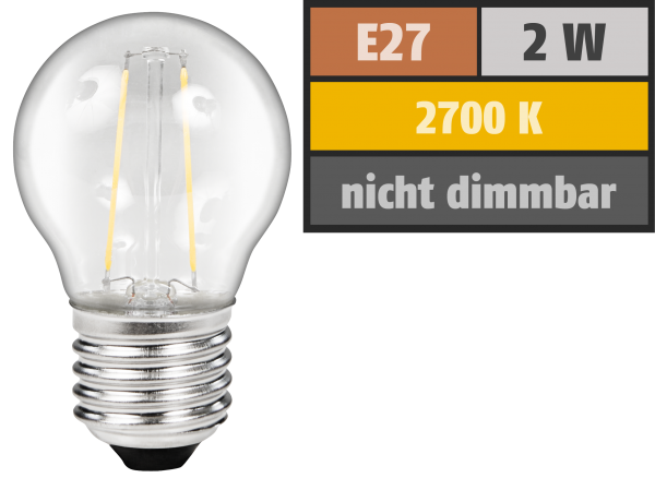 LED Filament Tropfenlampe McShine Filed, E27, 2W, 200Lm, warmweiß, klar