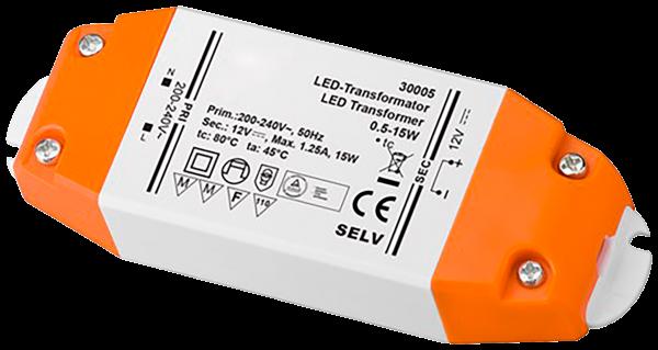 LED-Trafo 15W, elektronisch, 12V DC, slim