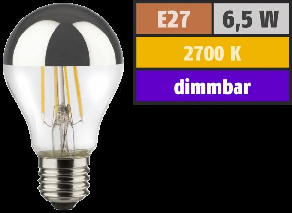 LED Filament Kopfspiegel Glühlampe, E27, 6,5W, 650lm, 2700K, warmweiß, dimmbar