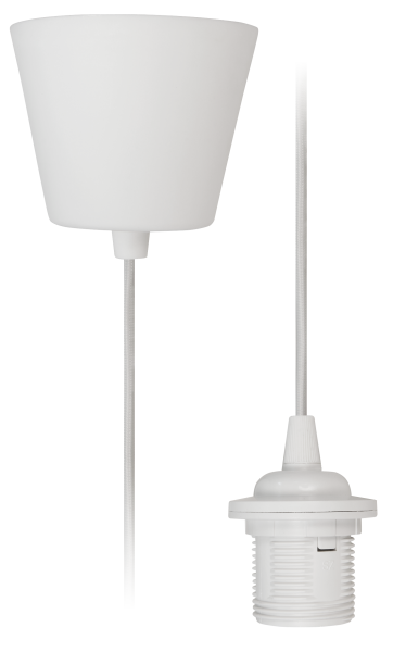 Lampenaufhängung McShine, E27 Fassung, weiß, 230V, 1,2m Kabel, Textilkabel