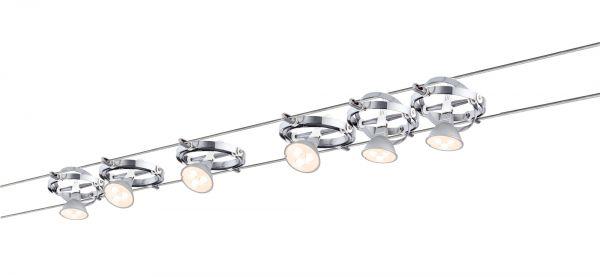 Paulmann Wire System Cardan LED 6x4W GU5,3 Chrom/Weiß 230/12V 80VA Metall