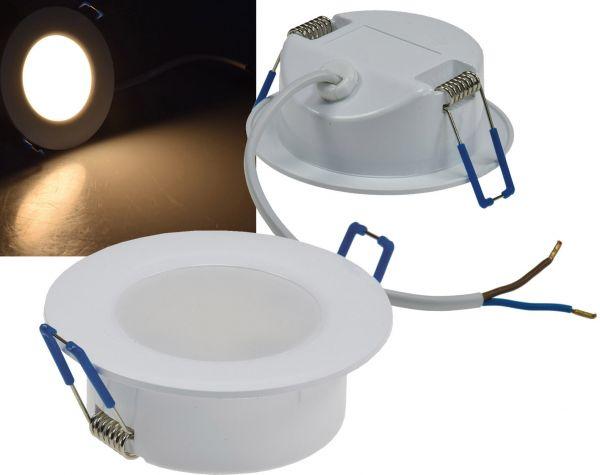 """LED-Einbauleuchte """"Flat-30 FR-R"""" 2900K Ø85x30mm, 5W, 460lm, IP44, rund, weiß"""
