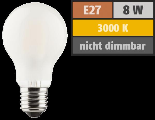 LED Filament Glühlampe, E27, 8W, 1055lm, 2700K, warmweiß, matt