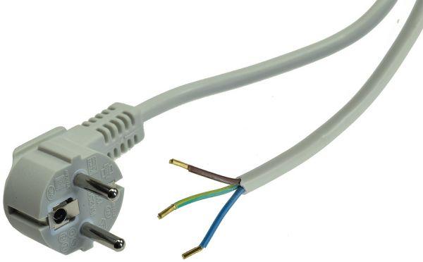 Netzkabel 1,5m, grau, 3x 0,75mm² Schutzkontakt-Stecker > blanke Enden