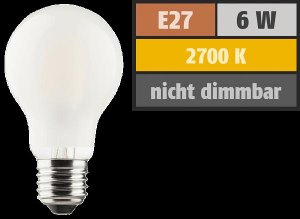 LED Filament Glühlampe, E27, 6W, 810lm, 2700K, warmweiß, matt