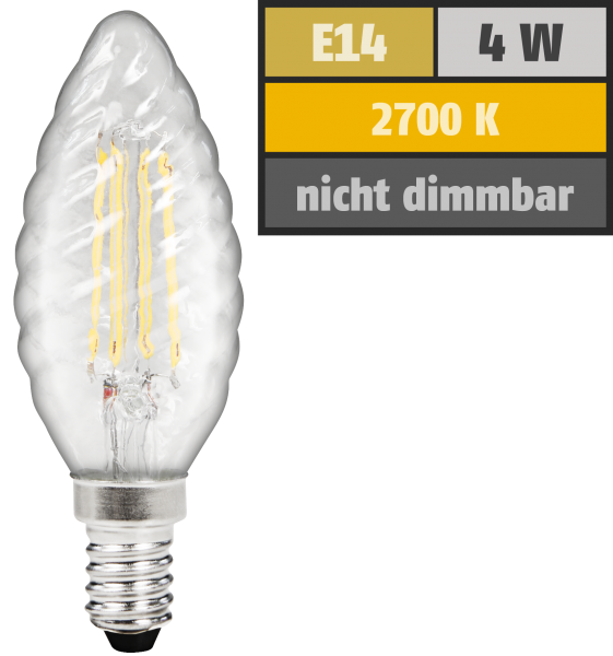 LED Filament Kerzenlampe gedreht McShine Filed, E14, 4W, 470 lm, warmweiß, klar