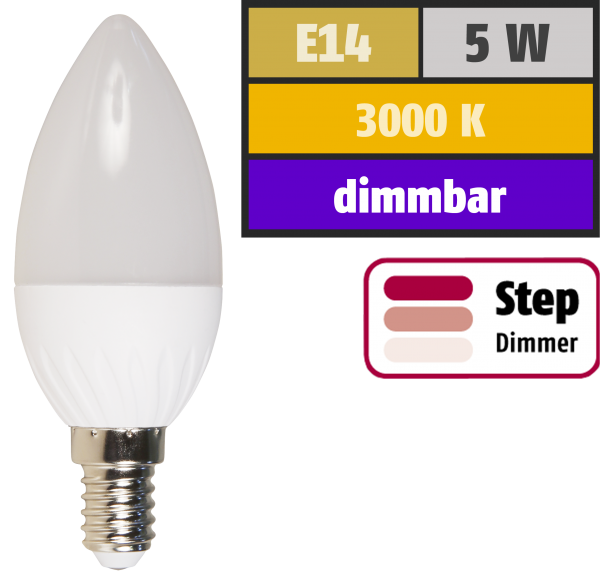 LED-Kerzenlampe McShine, E14, 5W, 400lm, 3000K, warmweiß, dimmbar 100/50/15%