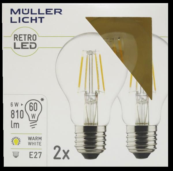 LED Filament Glühlampe, E27, 6W, 810lm, 2700K, warmweiß, 2er Set