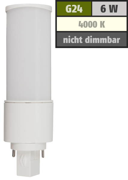 LED-Strahler McShine G24, 6W, 600lm, 120°, Ø41x139mm, neutralweiß