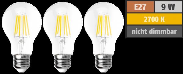 LED Filament Set McShine, 3x Glühlampe, E27, 9W, 1055lm, warmweiß, klar