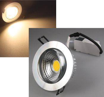 "LED-Einbauleuchte ""COB-7"", 7W, 450lm ALU, 3000K, 95°, Ø109xT47mm,Rahmen chrom"