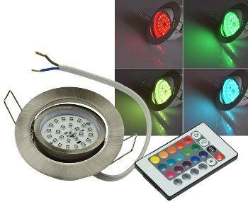"LED-Einbauleuchte ""Flat-30 RGB"" 80x30mm, 3W, Edelstahl gebürstet, FB"