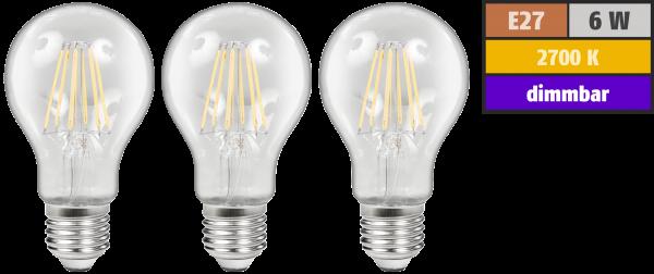LED Filament Set McShine, 3x Glühlampe, E27, 6W, 600lm, warmweiß, klar, dimmbar