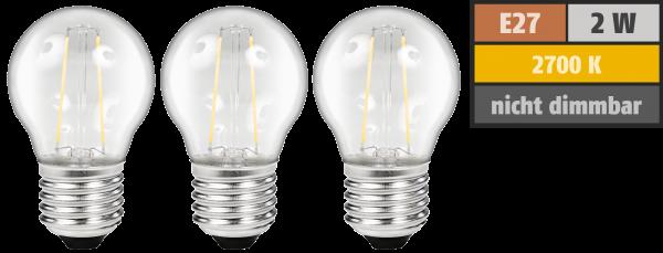LED Filament Set McShine, 3x Tropfenlampe, E27, 2W, 200lm, warmweiß, klar