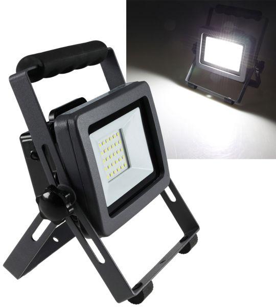 "LED Baustrahler mit Akku ""BS-30 pro"" 2400lm, 6500K weiß, 3,5h Akkubetrieb"