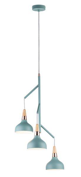 Paulmann Neordic Juna Pendelleuchte max.3x20W E14 Softgrün/Kupfer/Holz 230V Metall/Holz