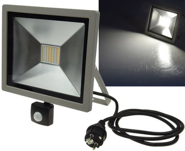 "LED-Fluter SlimLine ""CTF-SLT50 PIR"" 50W, IP44, 3200lm, 4200K, Bewegungsmelde"