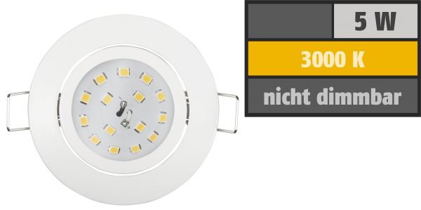 LED Einbauleuchte McShine Slim 82x28mm, 5W, 400lm, 3000K, weiß