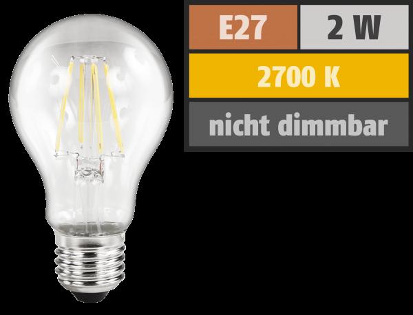 LED Filament Glühlampe McShine Filed, E27, 2W, 200 lm, warmweiß