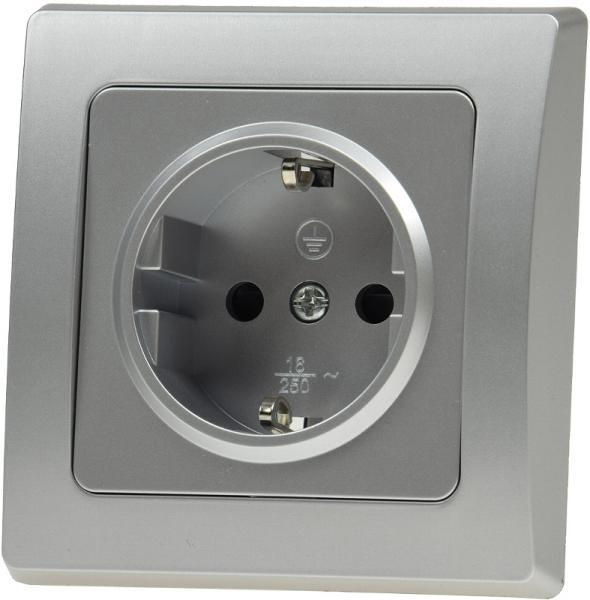 DELPHI Schutzkontakt-Steckdose Silber