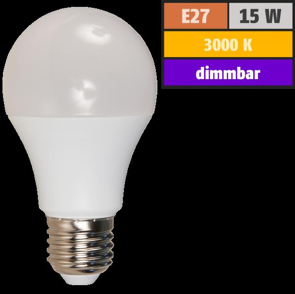LED Glühlampe McShine, E27, 15W, 1200lm, 240°, 3000K, warmweiß, dimmbar