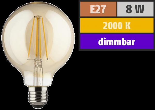 LED Filament Globelampe, E27, 8W, 900lm, 2000K, warmweiß, dimmbar, gold