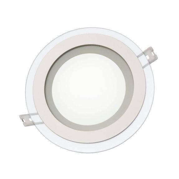 LED Panel Rund mit Glasumrandung 12 Watt Lichtfarbe wählbar