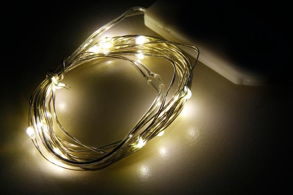 LED Draht-Lichterkette McShine Micro 20 LEDs, warmweiß, Batteriebetrieb