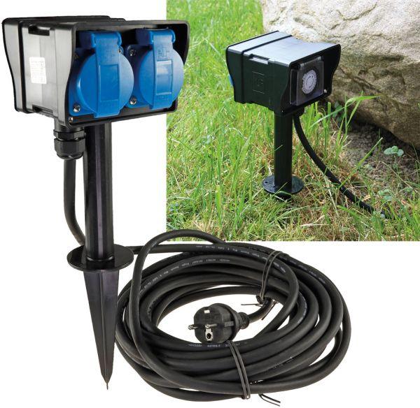 Gartensteckdose mit Erdspieß, 2-fach IP44, 10m Kabel, Zeitschaltuhr