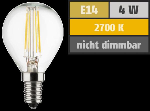 LED Filament Tropfenlampe, E14, 4W, 470lm, 2700K, warmweiß