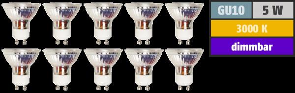LED-Strahler McShine MCOB GU10, 5W, 350 lm, warmweiß, dimmbar, 10er-Pack