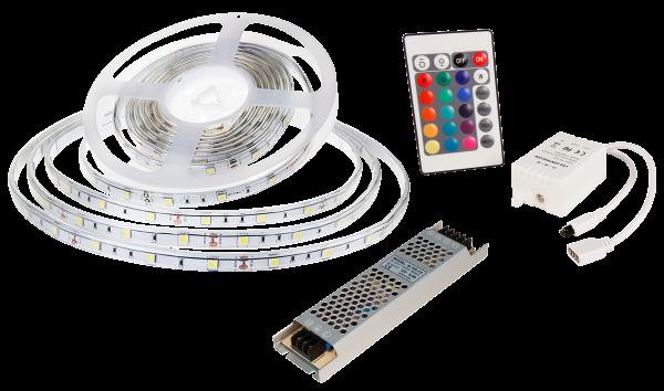LED-Stripe SET 30LED/m, RGB, 4,8W/m, RGB, 5m, IP65, Cotroller, 36W Netzgerät