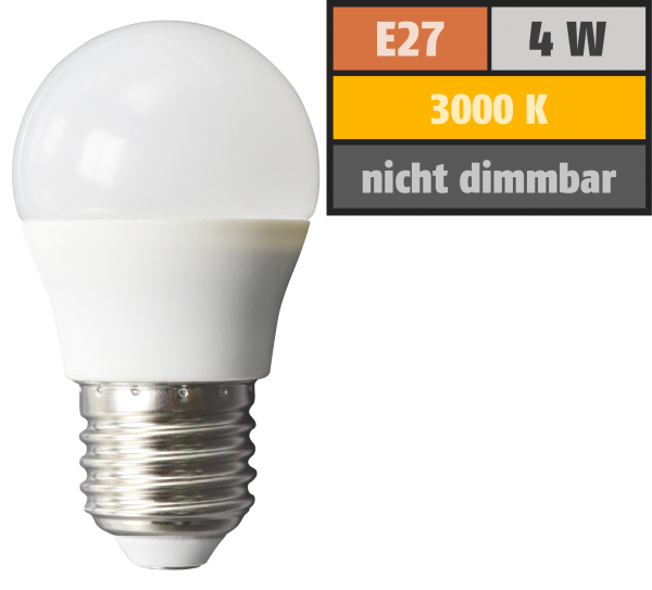 LED Tropfenlampe McShine, E27, 4W, 320lm, 160°, 3000K, warmweiß, Ø45x78mm