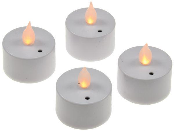 LED Teelichter, 4er Set, Luftzugsensor zum An- und Ausblasen