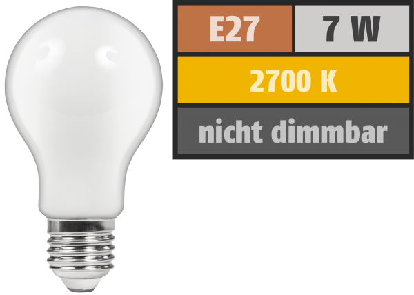LED Filament Glühlampe McShine Filed, E27, 7W, 720 lm, warmweiß, matt