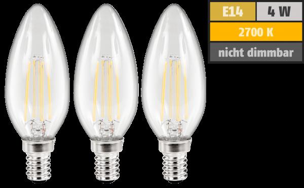 LED Filament Set McShine, 3x Kerzenlampe, E14, 4W, 360lm, warmweiß, klar